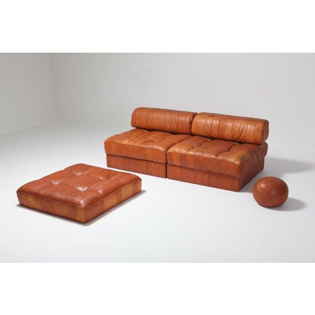 1970s Cognac Leather Patchwork Ds 88 De Sede Sectional Sofa For Sale - Image 5 of 11