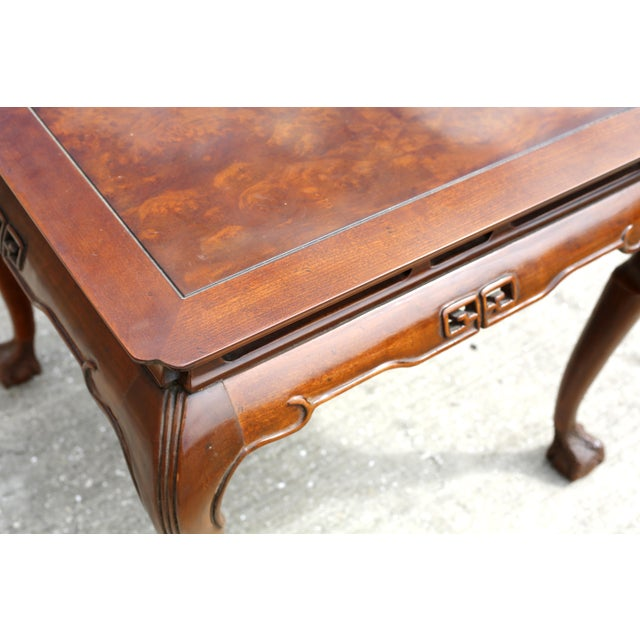 """1980s Vintage Drexel Heritage """"Ming Treasure"""" Square Clawfoot Side Table For Sale - Image 5 of 10"""