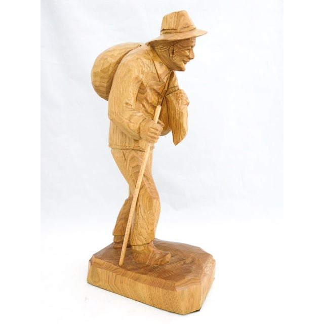Wood Vintage Signed Caron Quebec Wood Carving Old Man with Walking Stick and Bundle on Back For Sale - Image 7 of 7