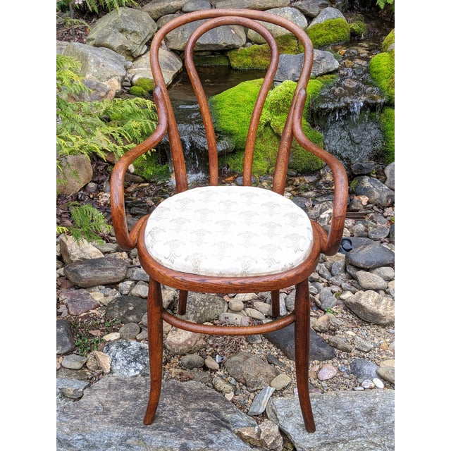 Traditional Antique Signed/Marked Michael Thonet Bentwood Beech Bistro Captains Chair For Sale - Image 3 of 13