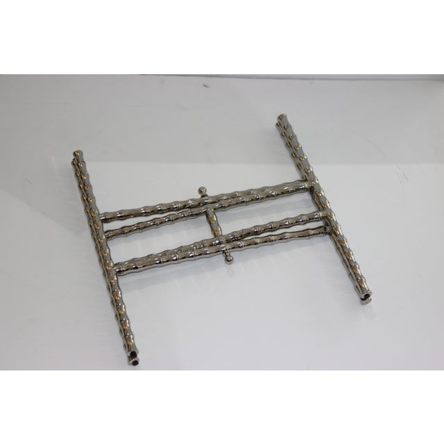 Hollywood Regency Faux Bamboo 1960s Nickel Plated Folding Tray Table in Style of Maison Baguès For Sale - Image 3 of 11