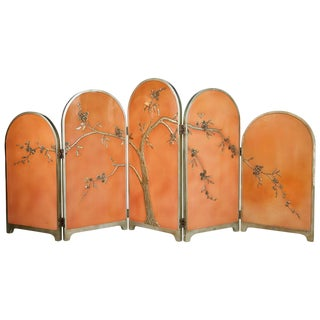 1920s Art Deco Chinoiserie Carved Relief Floral Peach Folding Screen For Sale