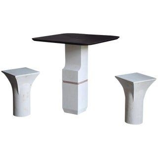 Purple Slate Ravissant Table and Stools, Frederic Saulou For Sale