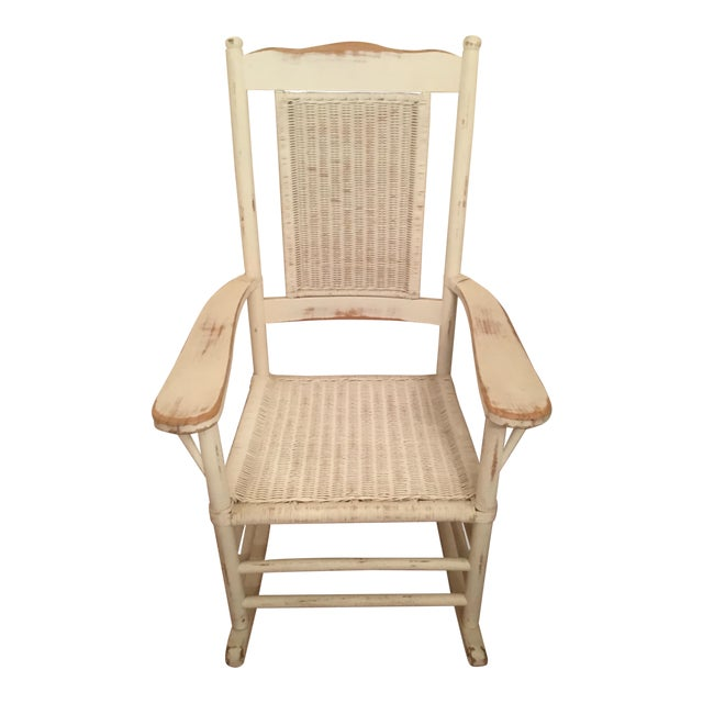 Palecek Distressed White Rocking Chair For Sale