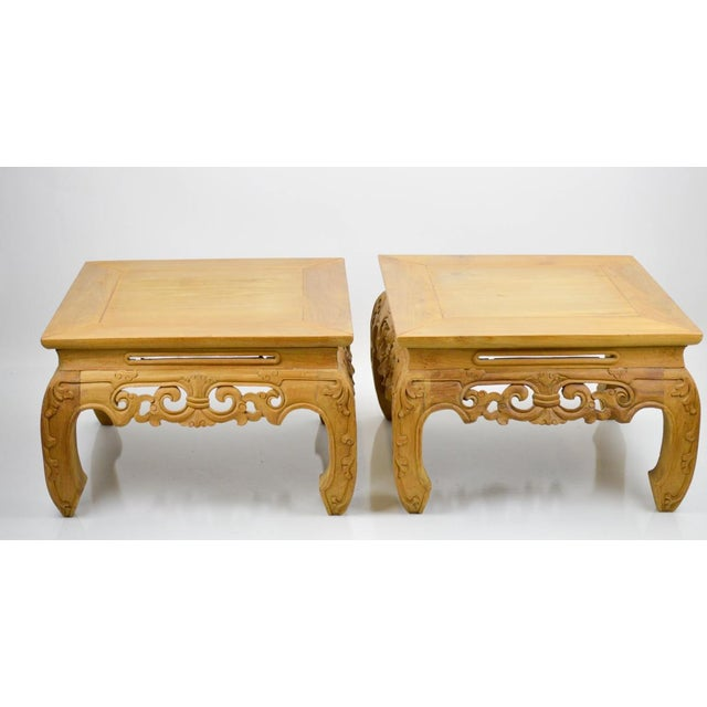Carved, Stripped Wood Asian Low Tables - a Pair - Image 5 of 7