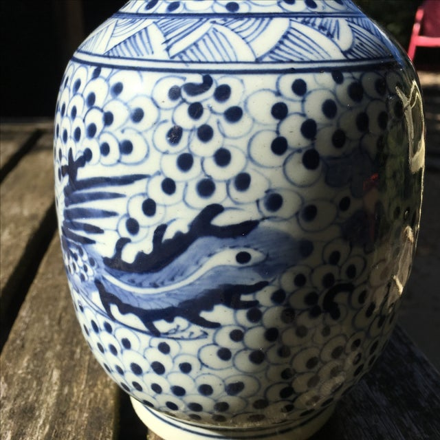 Vintage Blue and White Chinoiserie Vase - Image 3 of 6