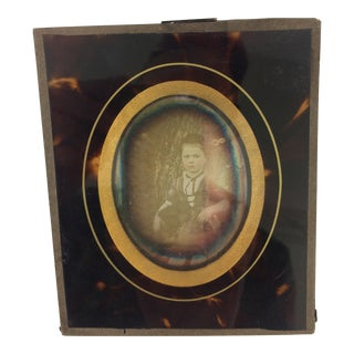 French 19th Century Daguerreotype Photo in Tortoise Shell Frame For Sale