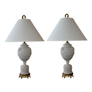 American Wedgwood Style White Bisque Porcelain Baluster-Form Lamps; Kessler - a Pair For Sale