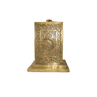 Moroccan Hand Carved Moroccan Brass Table Lamp For Sale