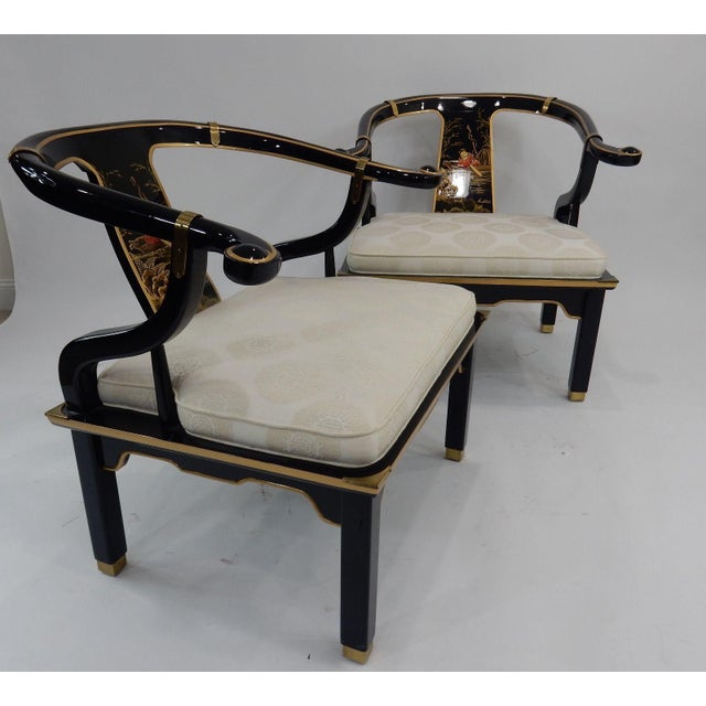 Century Black & Gold Chinoiserie Horseshoe Back Chairs - A Pair - Image 10 of 11