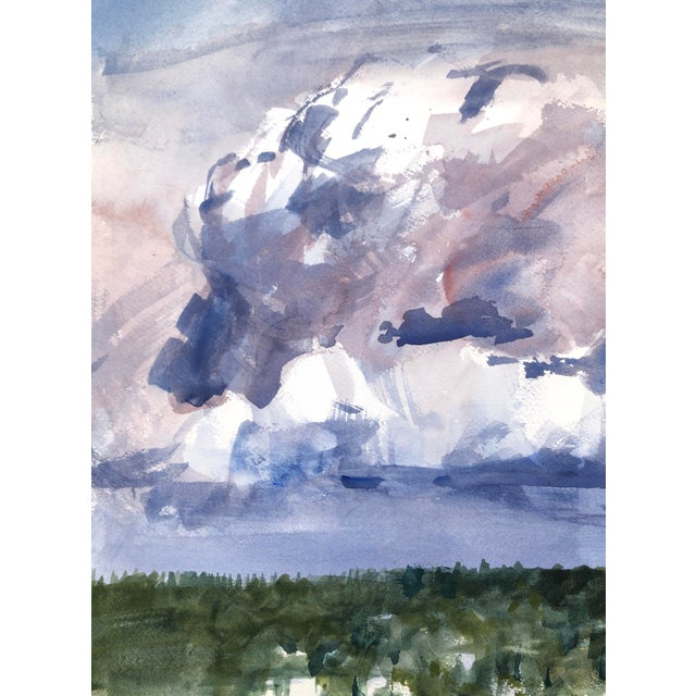 """Watercolor Contemporary Landscape Plein-Air Watercolor Painting, """"Cloud Study From Magnuson"""", by Artist David O. Smith For Sale - Image 7 of 11"""