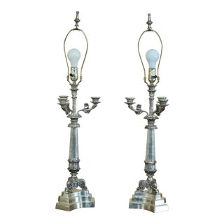 Pair Currey & Co Silver Plated Bronze Candelabra Lamps For Sale