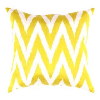 Turkish White & Yellow Silk Ikat Pillow For Sale