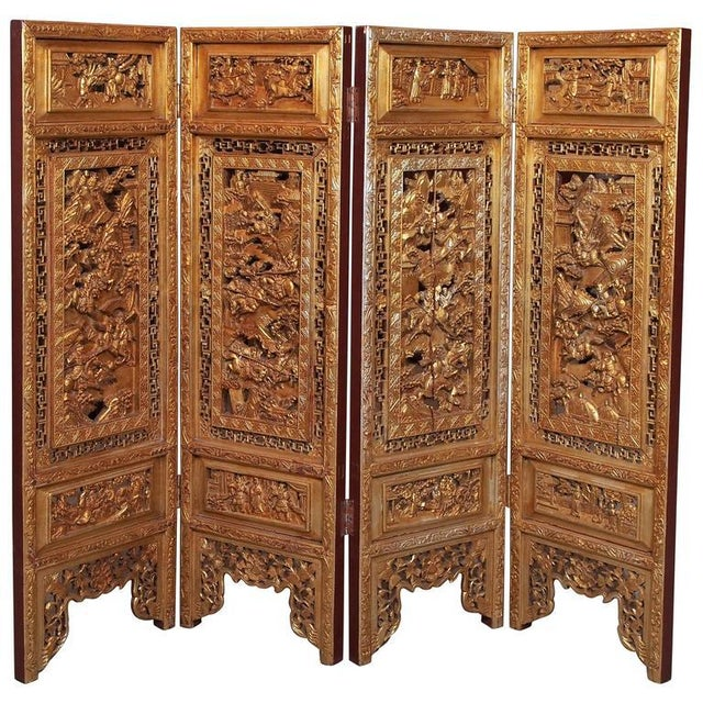 Antique Chinese Four-Panel Screen For Sale - Image 10 of 10