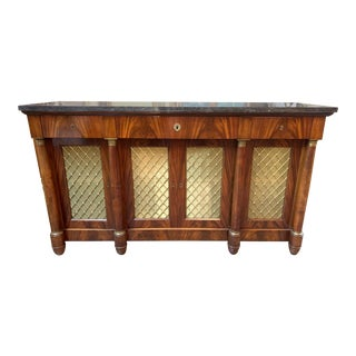 French Empire Mahogany Credenza with Black Belgian Marble Top For Sale
