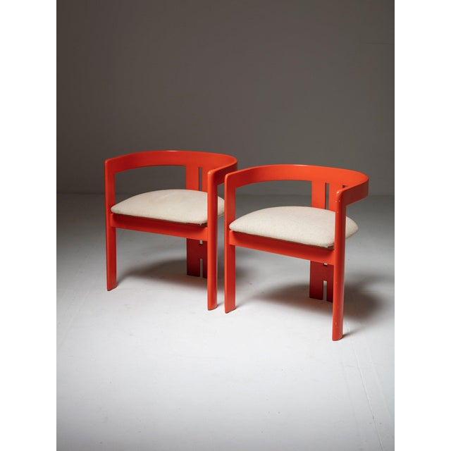 """Wood Set of Two """"Pigreco"""" Chairs by Tobia Scarpa for Gavina For Sale - Image 7 of 7"""