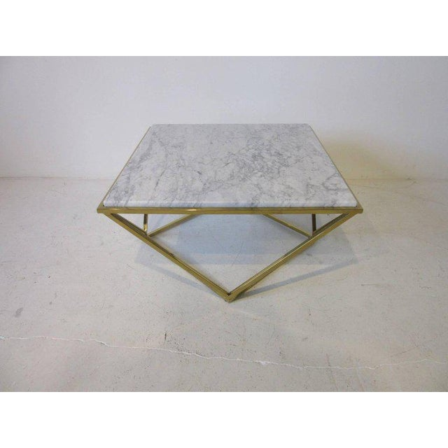 Italian Brass and Italian Marble Coffee Table For Sale - Image 3 of 6