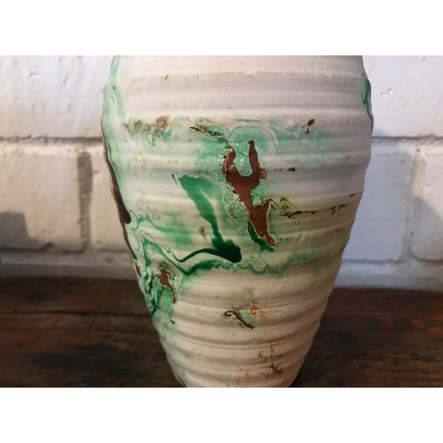Green Nemadji Tall Green and Brown Swirl Vase For Sale - Image 8 of 12