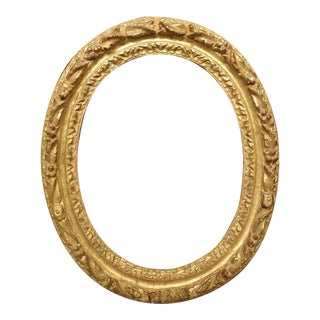 Small Antique Oval Giltwood Frame From Paris, 17th Century For Sale