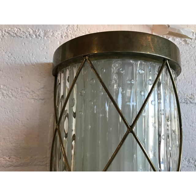 Wall-Mounted Brass and Glass Sconces- A Pair For Sale In Palm Springs - Image 6 of 8