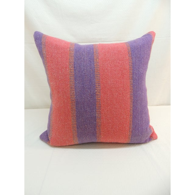 Boho Chic Large Floor Pillow in Blue and Red Woven Stripes For Sale - Image 3 of 6