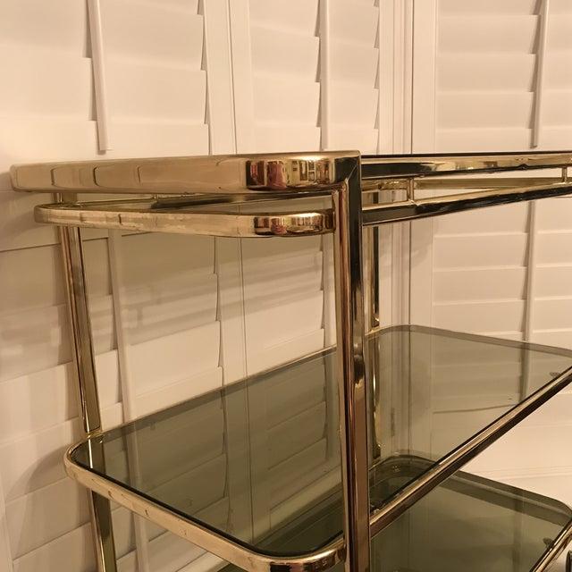 Mid-Century Brass & Smoke Glass Bar Cart - Image 9 of 10