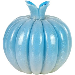 Seguso Vetri D' Arte Murano Blue Gold Leaf Italian Art Glass Onion Bulb Vase For Sale
