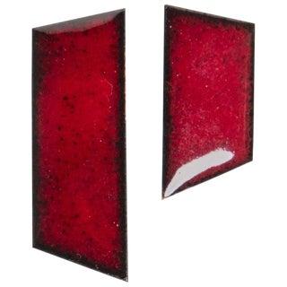 Michel McNabb for Basha Gold Ruby Red Enamel Strips Earrings For Sale