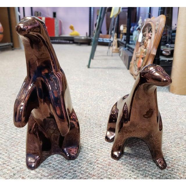 Up for sale is a Set of 2 1970's Mid Century Modern JARU Pottery of California Bronze Tone Ceramic Polar Bear Sculptures!...