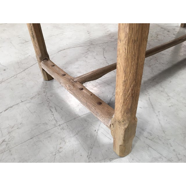 Beech Antique Pale Blonde Beech Farm Table For Sale - Image 7 of 9