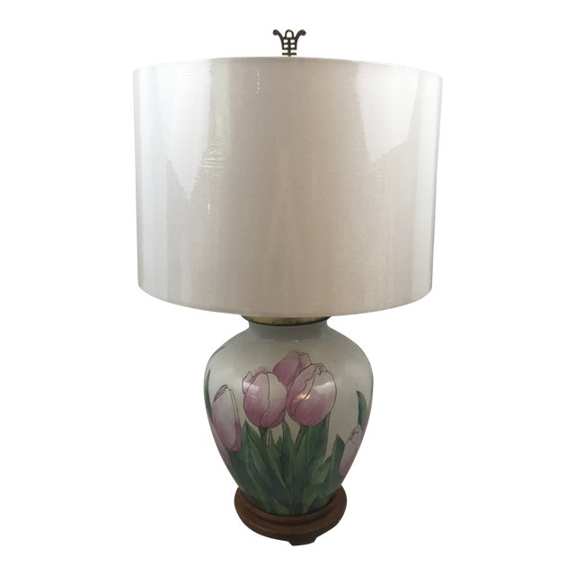 Vintage Tulip Lamp With New Shade For Sale