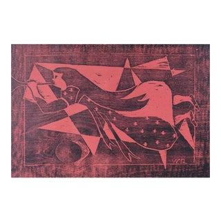Folk Art Angel Woodcut Print For Sale