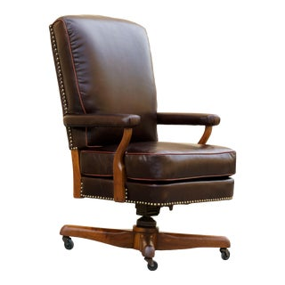 Antique Leather and Walnut Armchair, Refinished For Sale