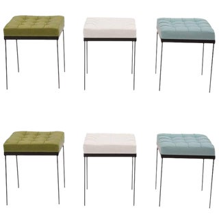 1950s Tufted Green & Blue Spinneybeck Leather and Iron Ottomans, 4 Available For Sale