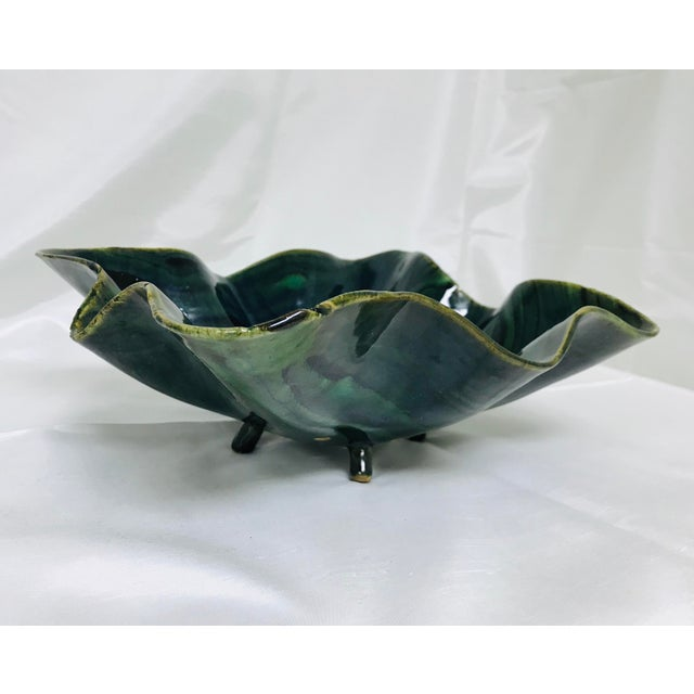 Glazed Green Footed Berry Pottery Bowl For Sale - Image 12 of 12
