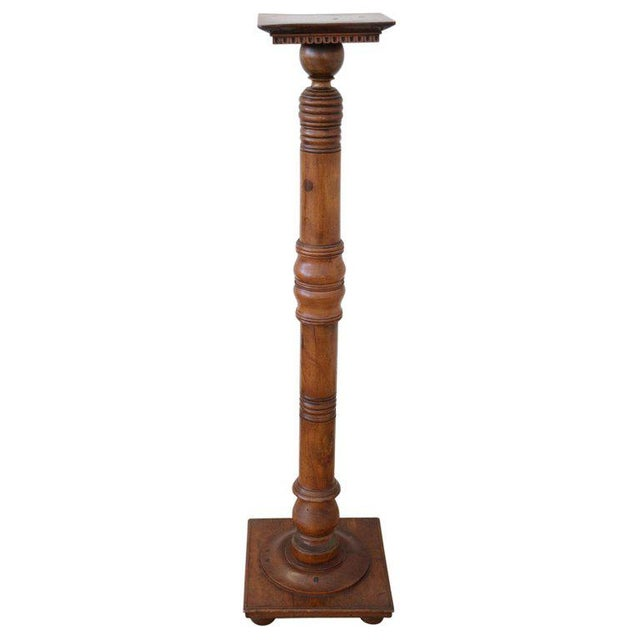 Brown 19th Century Italian Antique Column in Turned Walnut For Sale - Image 8 of 8