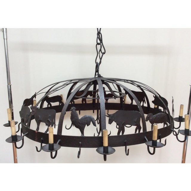 French Country Large Iron Farm Animal Themed Pot Rack Chandelier For Sale - Image 3 of 10