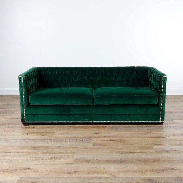 Michael Thomas Green Velvet Ames Tuxedo Sofa Chairish