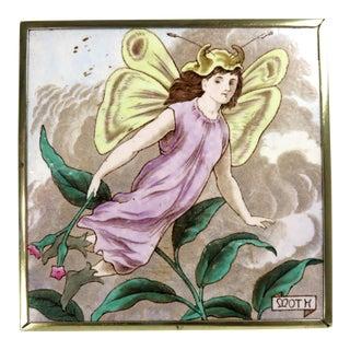 Antique Wedgwood Garden Fairy Tile & Brass Trivet Circa 1890s For Sale