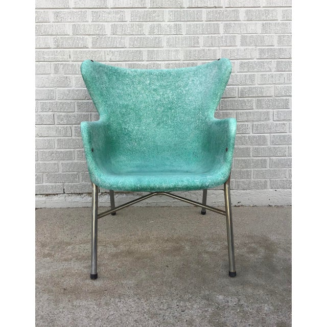 Mid Century Modern Fiberglass Aqua Green Chair With Chrome Legs For Sale - Image 4 of 13
