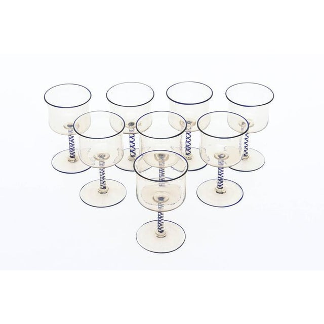 Art Deco Set of Eight Italian Art Deco Murano Venetian Cordial/ Apertif Glasses/ Barware For Sale - Image 3 of 8