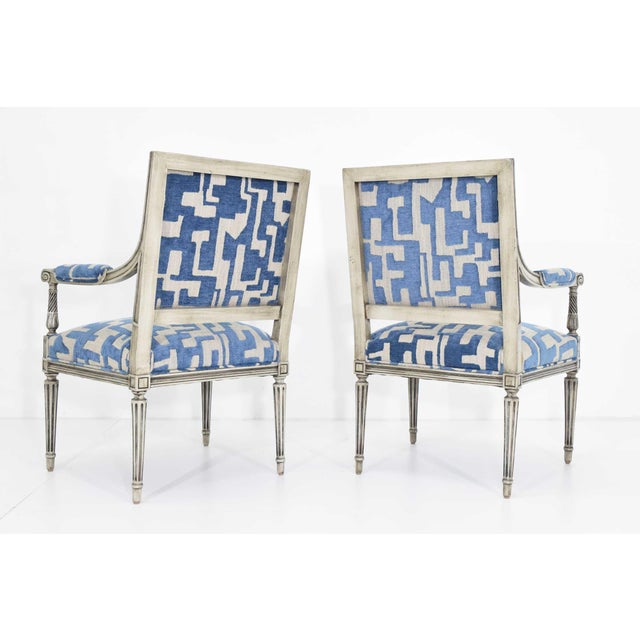 Louis XVI Style Lounge Chairs in Blue/Taupe - a Pair For Sale - Image 4 of 11