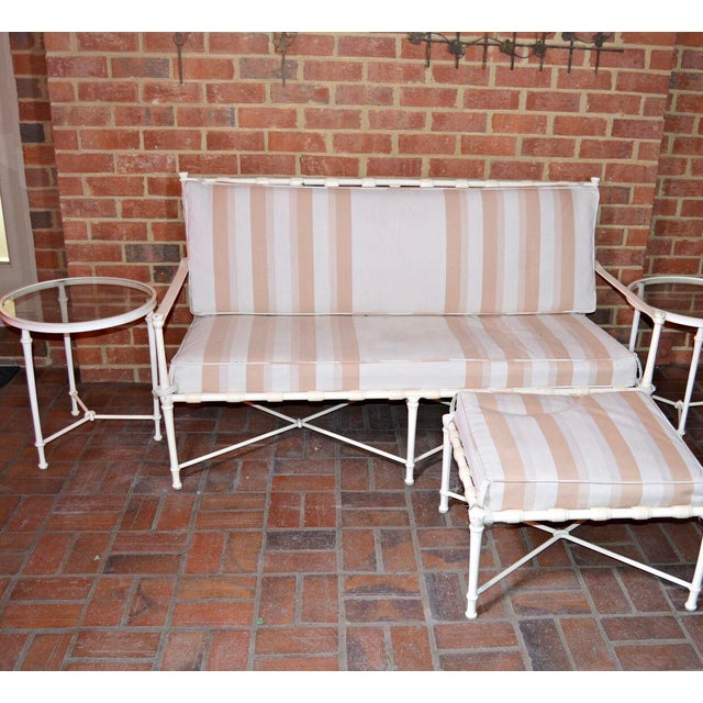 Hollywood Regency Brown Jordan Cast Metal Outdoor Settee, Ottoman & Accent Tables For Sale - Image 3 of 12