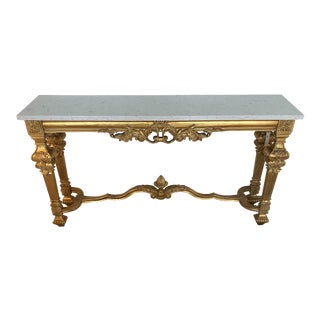 French Jonathan Charles Versailles Marble Top Gold Gilt Console Table For Sale
