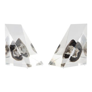 1970's Lucite Geode Bookends For Sale