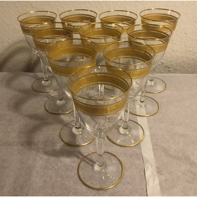 Gold Mid 20th Century Baccarat French Gilt Crystal Directoire Style Glassware - Set of 40 For Sale - Image 8 of 13