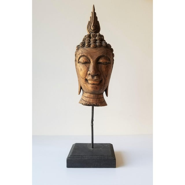 Vintage Hand Carved Wooden Buddha Head For Sale - Image 9 of 9