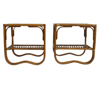 Vintage Bent Bamboo End Tables Sculptural 2 Tier Franco Albini Style Side Tables - a Pair