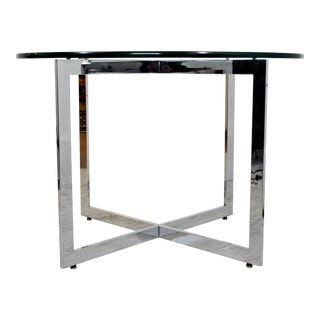 1970s Mid-Century Modern Rosen Pace Chrome Base Glass Top Dining Table