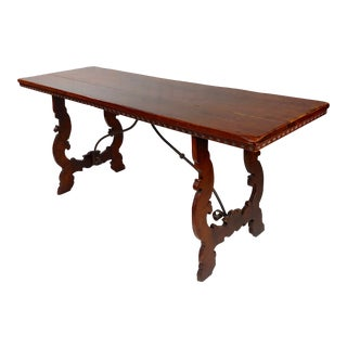 19th Century Spanish Colonial Walnut & Iron Trestle Table For Sale